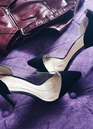 Трендовые туфли лодочки из екозамша с силиконовой вставкой в наличии