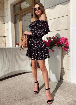 Костюм топ и юбка в цветочный принт