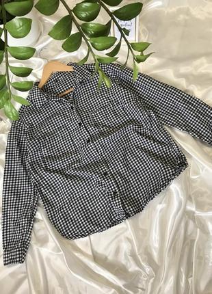 Рубашка в клетку клетчатая хлопковая белая чёрная прямого кроя оверсайз h&m zara mango