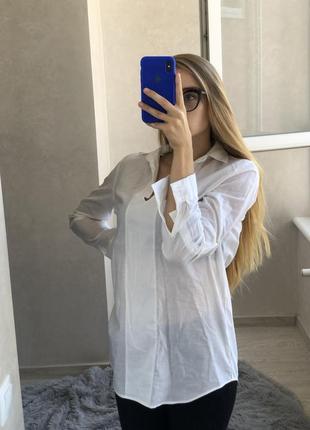 Белая свободная хлопковая рубашка top shop