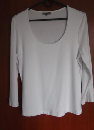 Блузка лонгслив футболка белая, вискоза, m-l, john lewis