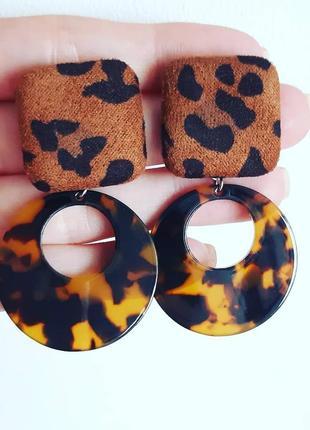 Стильные леопардовые серьги, серёжки