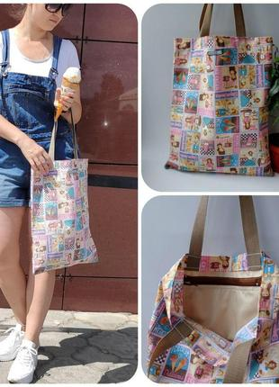 Эко сумка для покупок с мороженым, сумка пакет, эко торба, сумка шоппер 47