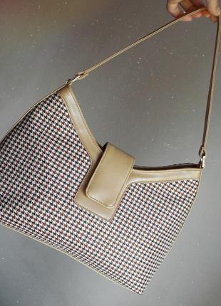 Сумка в клетку багет бежевая большая беж гусиная лапка текстиль