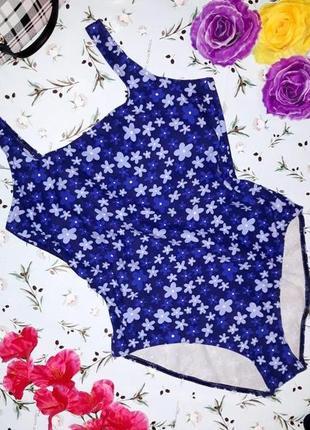 🎁1+1=3 стильный синий купальник в цветочный принт bhs, размер 50 - 52