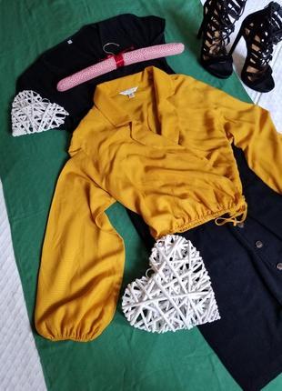 🌺 стильная желтая блуза на запах  с широкимы рукавами