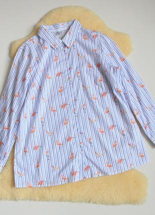 Натуральная хлопковая рубашка розовые фламинго