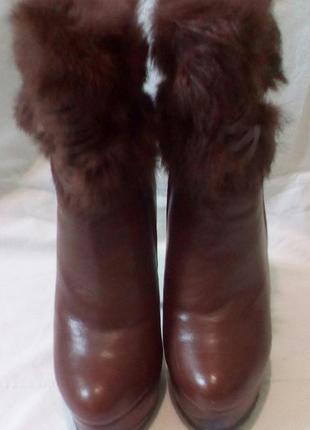 Зимние полусапожки, ботинки, ботильоны с натуральным кроликом2