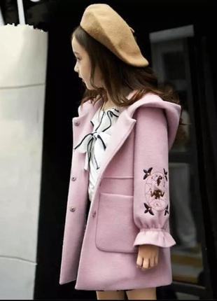 🌿классное кашемировое пальто с вышивкой на подкладке