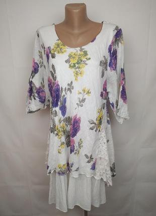 Платье стильное натуральное в принт кружево паетки италия uk 16-18
