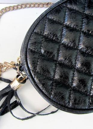Черная маленькая сумка, мини сумка круглая, стиль chanel. распродажа!