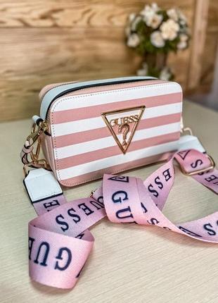 Женская сумка guess розово белый цвет 💜