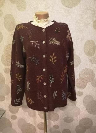 Винтажная шерстяная кофта кардиган с вышивкой