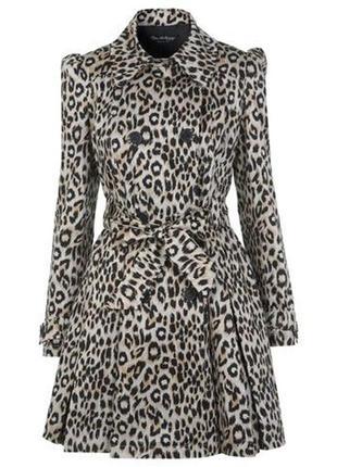 Потрясающий леопардовый котоновый плащ тренч с пышной нижней частью