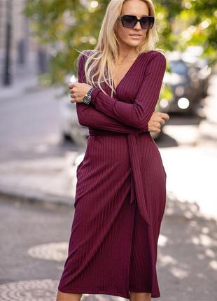 Платье миди на запах boohoo платье в рубчик сукня довга міді