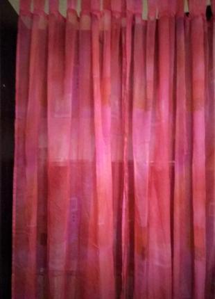 Тюль розового (каралового)  цвета, разноцветные квадратики