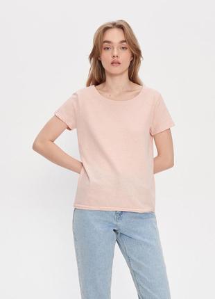 Новая однотонная широкая розовая светлая пудра футболка пудровая оверсайз польша xs s m