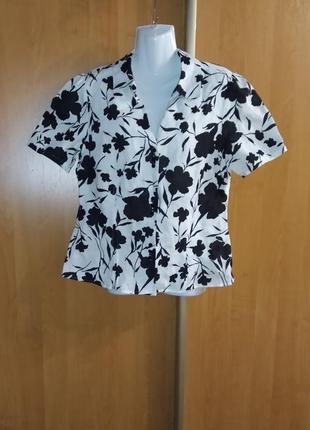Новая черно-белая рубашка, красивая блуза, натуральный лен, короткий рукав