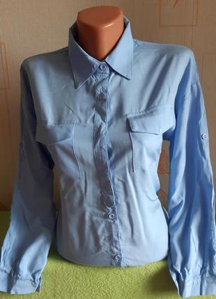 Стильная рубашка голубого цвета abercrombie&fitch