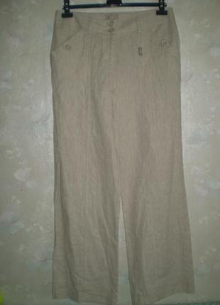 Новые летние брюки soon uk14 l лен с хлопком, штаны светлые бежевые