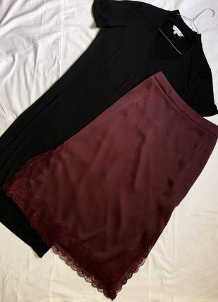 Невероятная юбка миди цвета марсала в бельевом стиле
