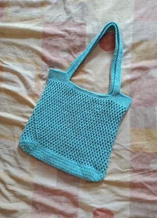 Новая вязаная сумка шоппер авоська ручной работы