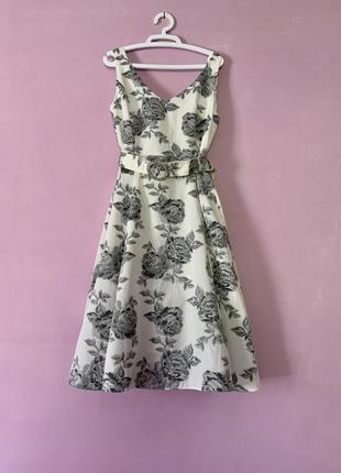 Эксклюзивное платье винтаж миди с розами вышивкой ретро стиль белое стильное