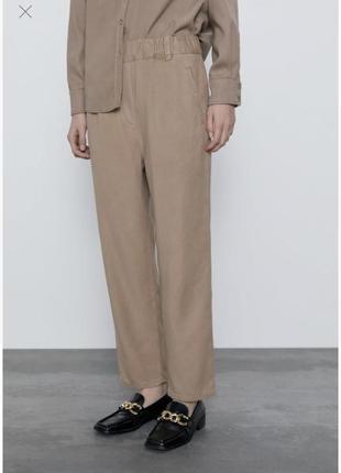 Штаны брюки повседневные лиоцелл zara зара бежевые s стильные каждый день