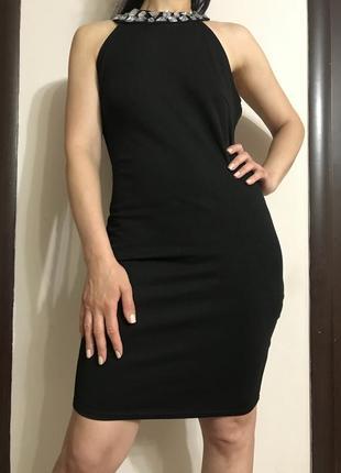 Шикарное чёрное платье с открытой спиной ,amisu