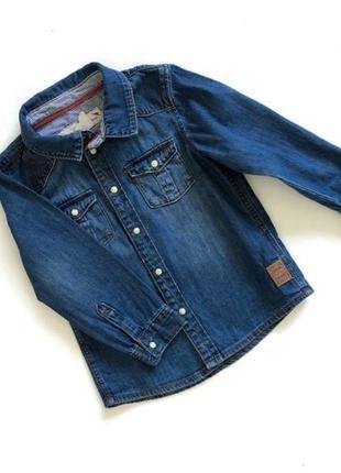 Джинсовая синяя рубашка
