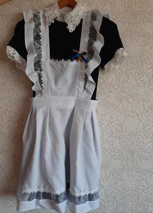 Школьная советская форма,платье + фартук