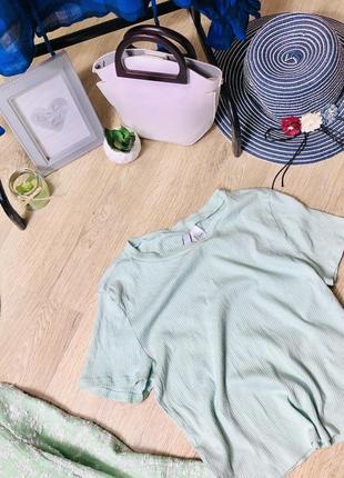 Базовая футболка h&m мятного цвета