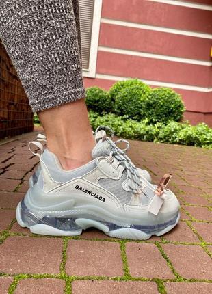 Balenciaga triple s clear sole grey  женские кроссовки наложенный платёж купить кросівки