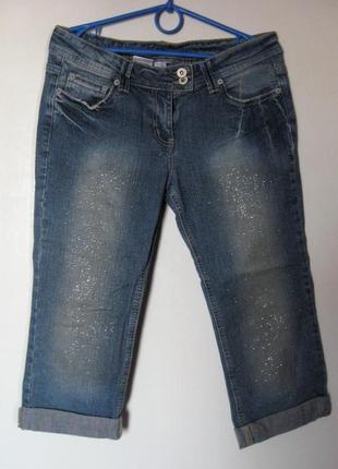 Бриджи джинсовые в блестках и стразах