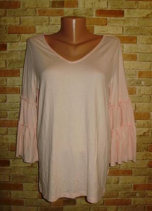 Модная трикотажная пудровая кофточка блуза рукава воланы размера m-l