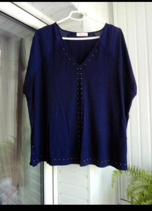 Натуральная вискозная блуза с шифоновой вставкой большого размера батал
