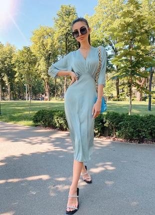 Платье женское шёлк армани миди олива