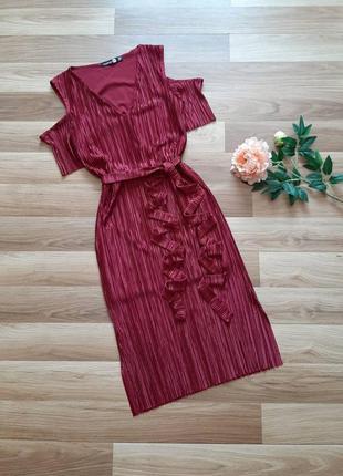 Плісироване плаття міді boohoo плиссированное платье миди