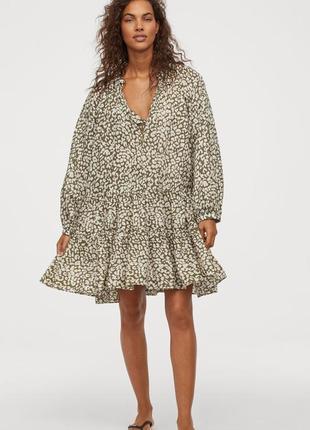 Натуральное платье туника оверсайз очень свободного кроя love stories x h&m