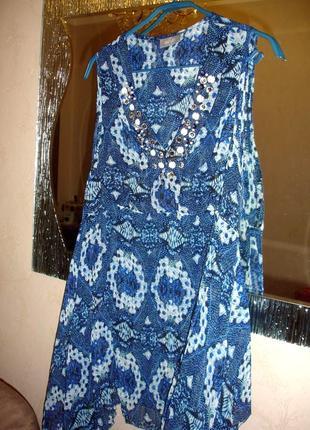 Туника пляжная размер l 48-50/16 летняя легкая синяя накидка парео голубой