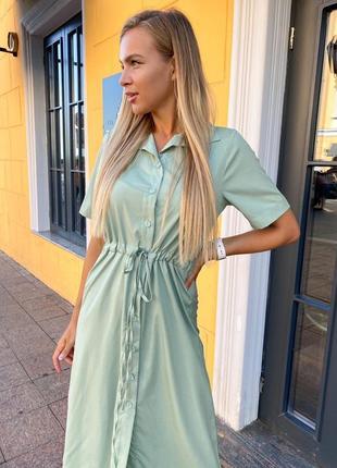 Платье рубашка оливка