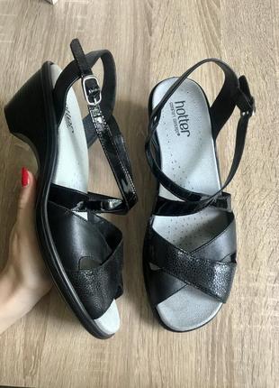 Hotter 40 р кожа шлепки босоножки босоніжки туфли