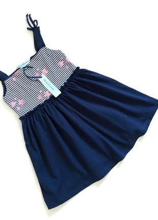 Новое с биркой темно-синее коттоновое платье