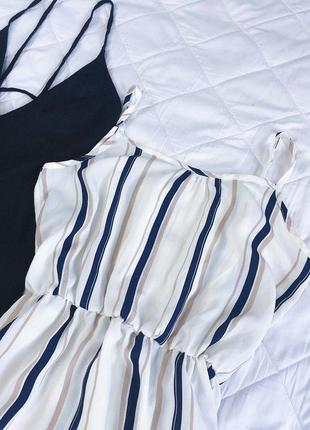 Платье миди белое в полоску