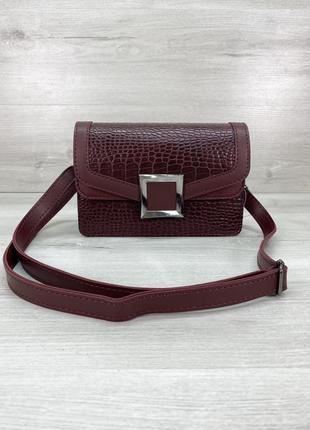 Женская сумка клатч кросс-боди крокодиловая змеиная бордовая