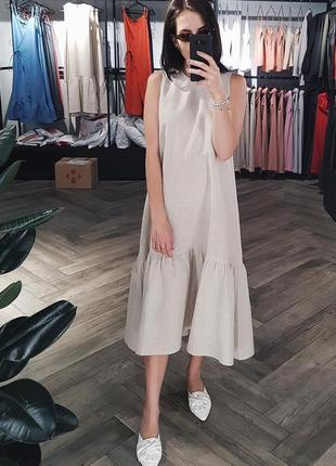 Платье с воланами из 100% неокрашенного натурального льна