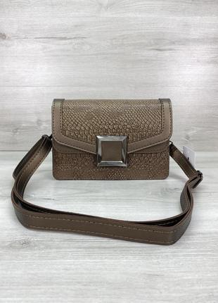 Женская сумка клатч кросс-боди крокодиловая змеиная кофейная