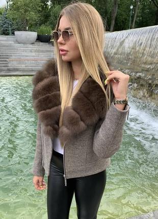 Пальто шерсть утеплённое с натуральным мехом