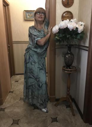 Итальянский костюм из натурального шёлка, юбка, блуза