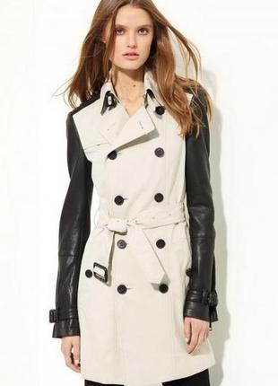 Стильный тренч плащ куртка  с кожаными рукавами  р 10-12